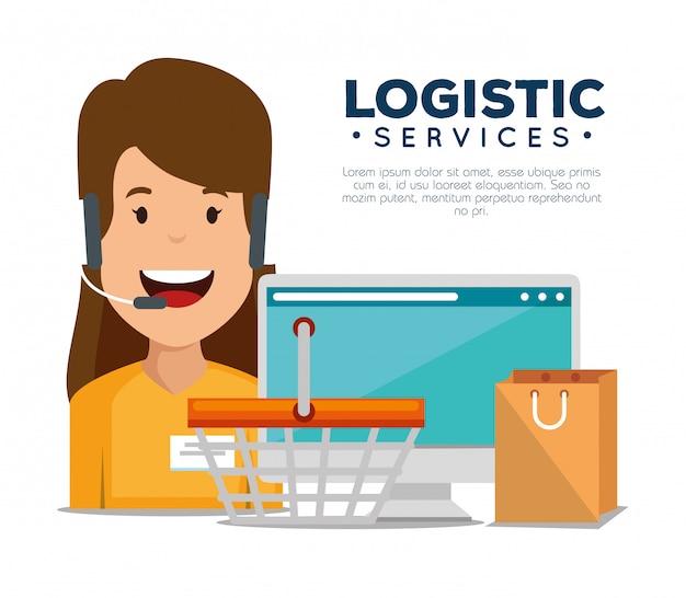 Services logistiques avec agent de support et ordinateur