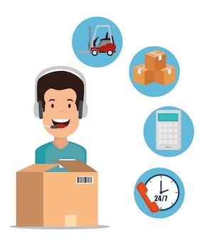 Services logistiques avec agent de support