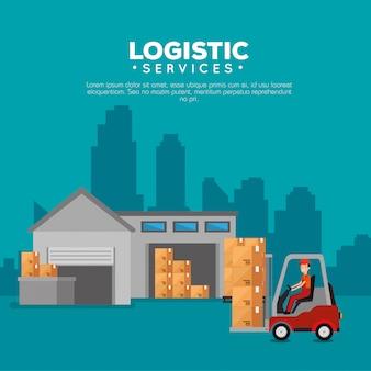 Services Logistiques Avec Chariot élévateur Et Ouvrier Vecteur gratuit