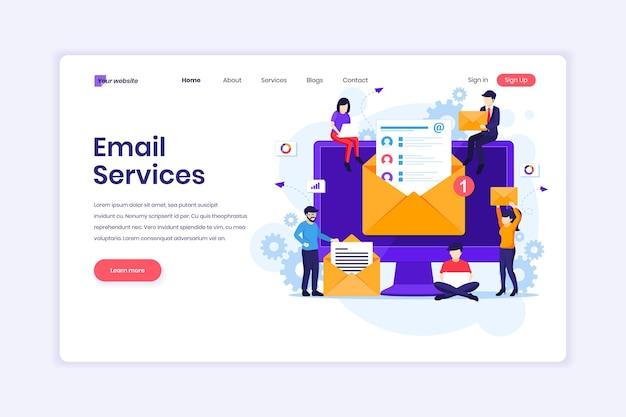 Services de marketing par e-mail campagne publicitaire promotion numérique avec illustration de caractères