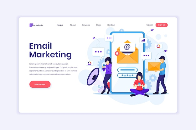Services de marketing par e-mail campagne publicitaire promotion numérique sur une illustration de téléphone mobile