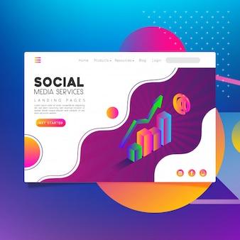 Services de médias sociaux de pages de destination