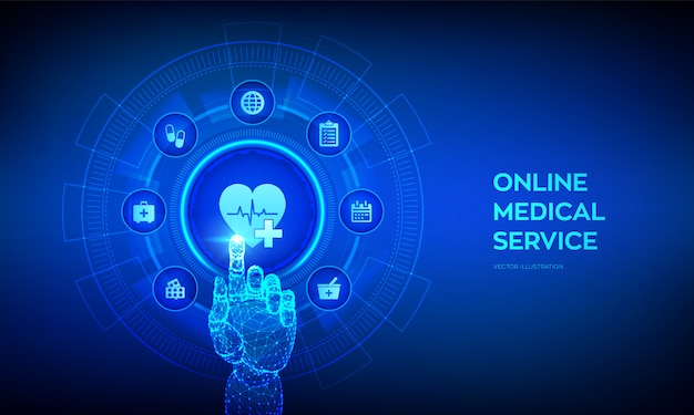 Services médicaux en ligne, concept de consultation et d'assistance sur écran virtuel. médecin en ligne. main robotique touchant l'interface numérique.
