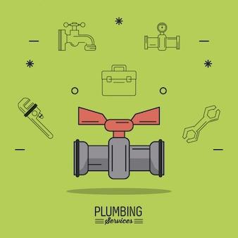 Services de plomberie d'affiche de fond vert avec robinet d'arrêt de couleur