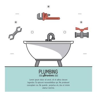 Services de plomberie avec baignoire en gros plan et icônes d'outils de plomberie