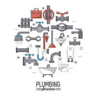 Services de plomberie avec des icônes ensemble de plomberie