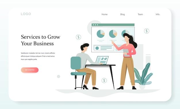 Services pour développer la bannière web de votre entreprise. idée de gestion et d'administration. illustration avec style