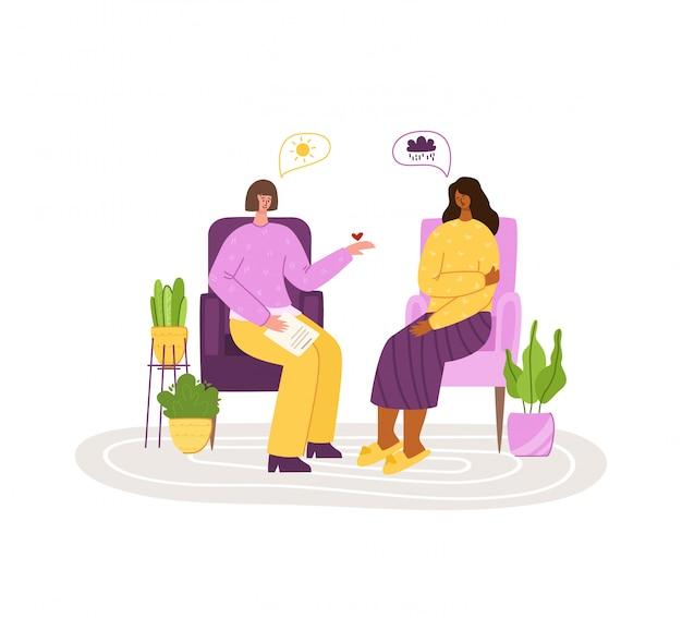 Services psychologiques - soutien personnel, assistance dans un bureau confortable ou à domicile. bouleversé une fille en difficulté à écouter un psychologue