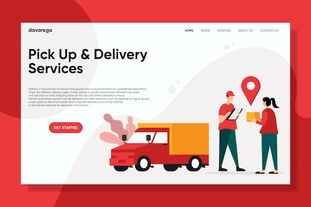 Services de ramassage et de livraison page de conception plate