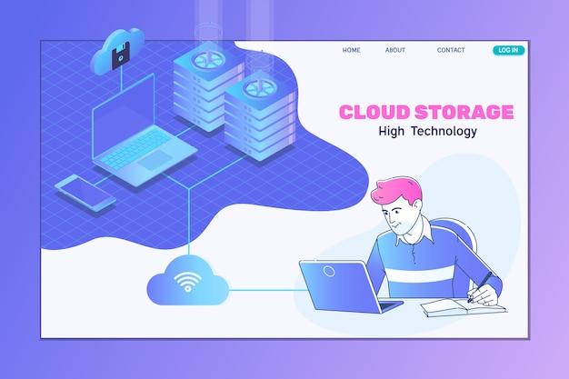 Services et technologie d'informatique en nuage isométrique
