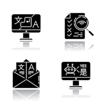 Services de traduction drop shadow black glyph icons set.