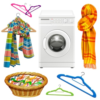 Serviette, écharpe, panier, cintres et machine à laver