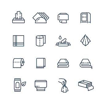 Serviette en tissu et serviette en papier humide ligne icônes sanitaires publiques