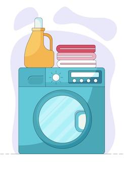 Serviettes roses de concept domestique et bouteille de savon sur le dessus de la machine à laver dans un style plat