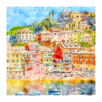Sestri levante italie croquis aquarelle illustration dessinée à la main