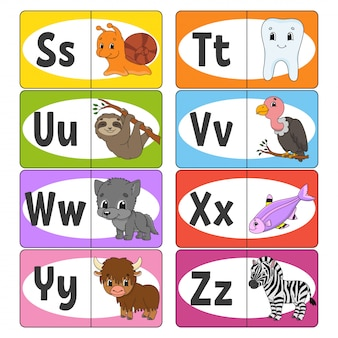 Set abc cartes, alphabet pour les enfants.