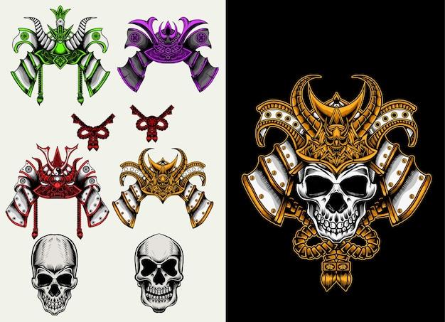 Set accessoires de crâne de samouraï