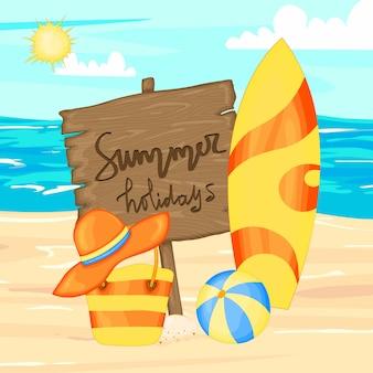 Set avec accessoires de plage et planches de surf