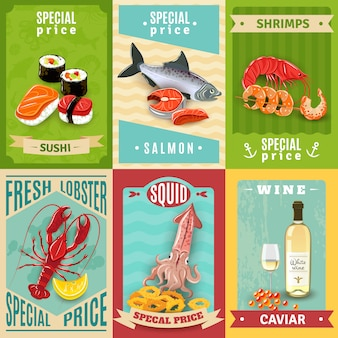 Set d'affiches de fruits de mer