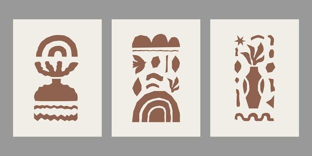 Set d'affiches d'inspiration matisse avec des formes organiques et des objets de coupe marron