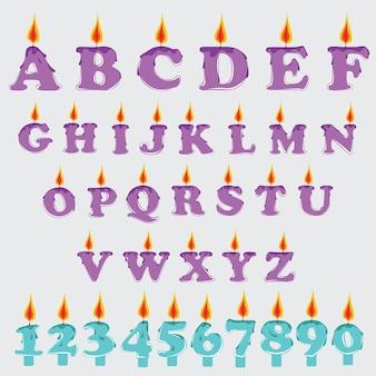 Set d'alphabet graphique de bougie de vecteur