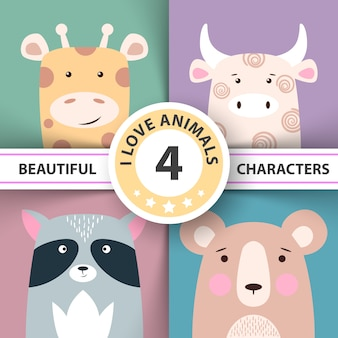 Set animal girafe, vache, raton laveur