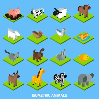 Set d'animaux isométriques