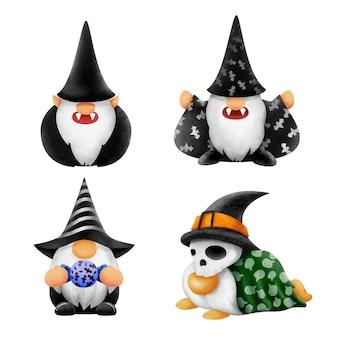 Set d'aquarelle pour les gnomes dessinés à la main pour halloween .illustration vecteur.