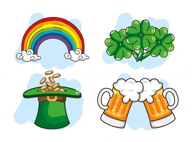 Set arc-en-ciel avec des pièces à l'intérieur de la bière et chapeau st patrick