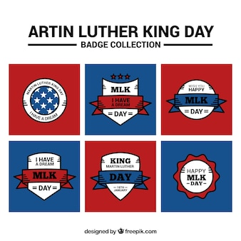 Set d'autocollants plats pour jour martin luther king