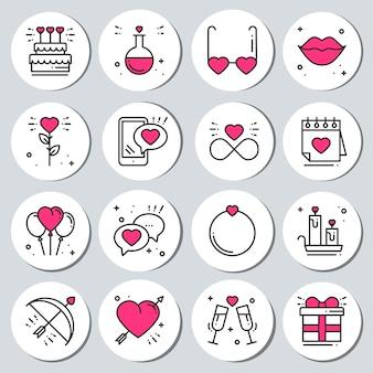 Set d'autocollants st valentin étiquettes de badges.