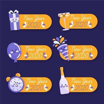 Set de badges dessinés à la main pour le nouvel an 2020