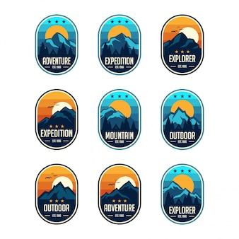Set de badges d'emblèmes vintage classique neuf montagne voyage