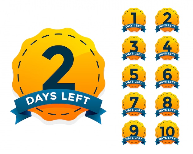 Set de badges jaunes pour le nombre de jours restants