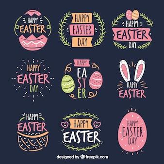 Set de badges de jour de pâques