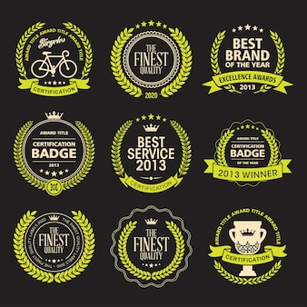 Set de badges de laurel wreath awards