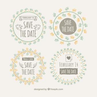 Set de badges de mariage floral