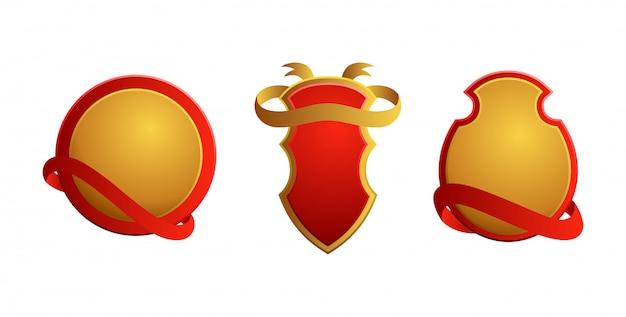 Set de badges vintage. boucliers avec des rubans. vente, qualité premium, meilleur choix, étiquettes originales.