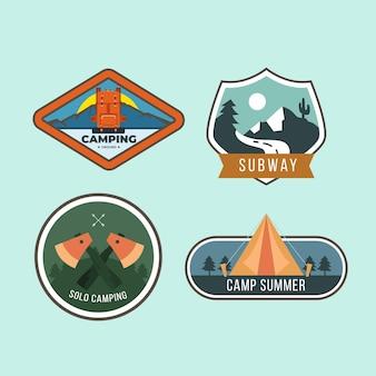 Set De Badges Vintage Camping & Adventures Vecteur gratuit
