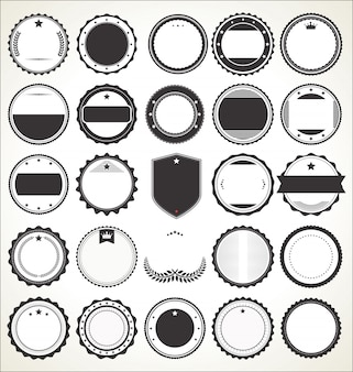 Set de badges vintage rétro vierges