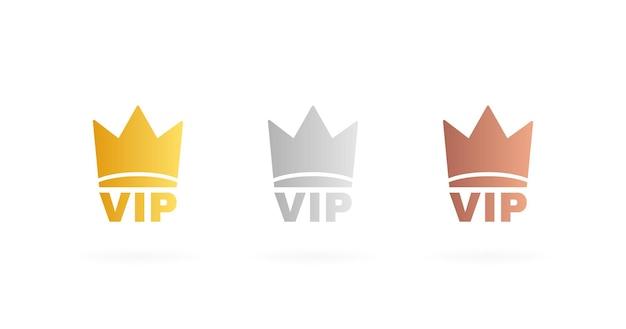 Set de badges vip de couleur or, argent et bronze. étiquette de couronne avec trois niveaux vip. illustration vectorielle moderne.