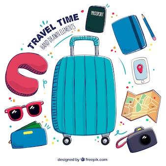Set de bagages dessinés à la main