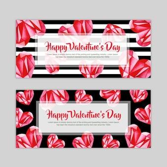 Set de bannière aquarelle valentine