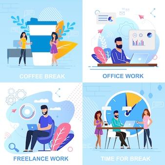 Set bannière pause café, bande dessinée travail de bureau