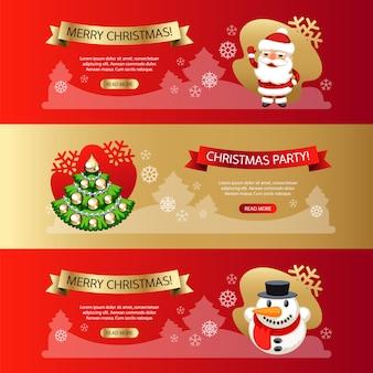 Set de bannières horizontales de noël rouge et or