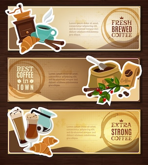 Set de bannières plates vintage café brun