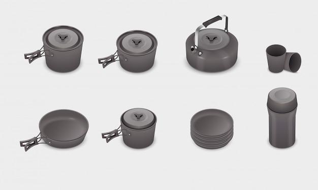 Set de batterie de cuisine cuisine réaliste vector