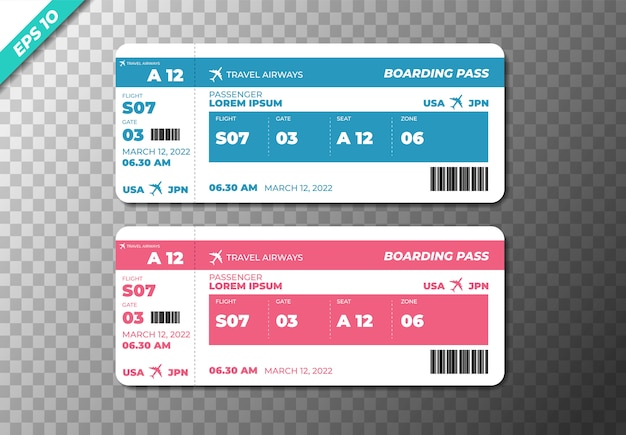 Set de billets d'avion d'embarquement