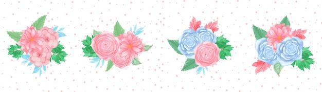 Set de bouquet floral aquarelle avec de magnifiques fleurs