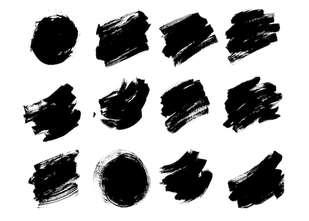 Set brush pack texture grunge effect vector